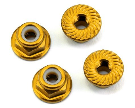 Alum 4mm Serrated Wheel Nuts (Gold)
