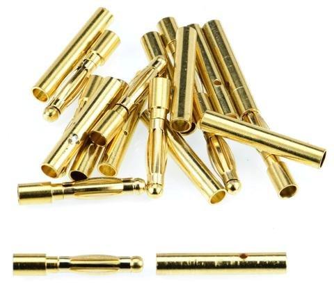 2.0MM M/F GOLD BULLET CONN PLUGS - 10 PAIR