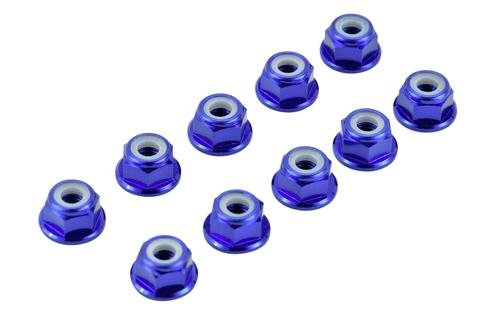 BLUE 4MM ALUMINUM SERRATED NYLON LOCKNUT WHEEL NUT SET