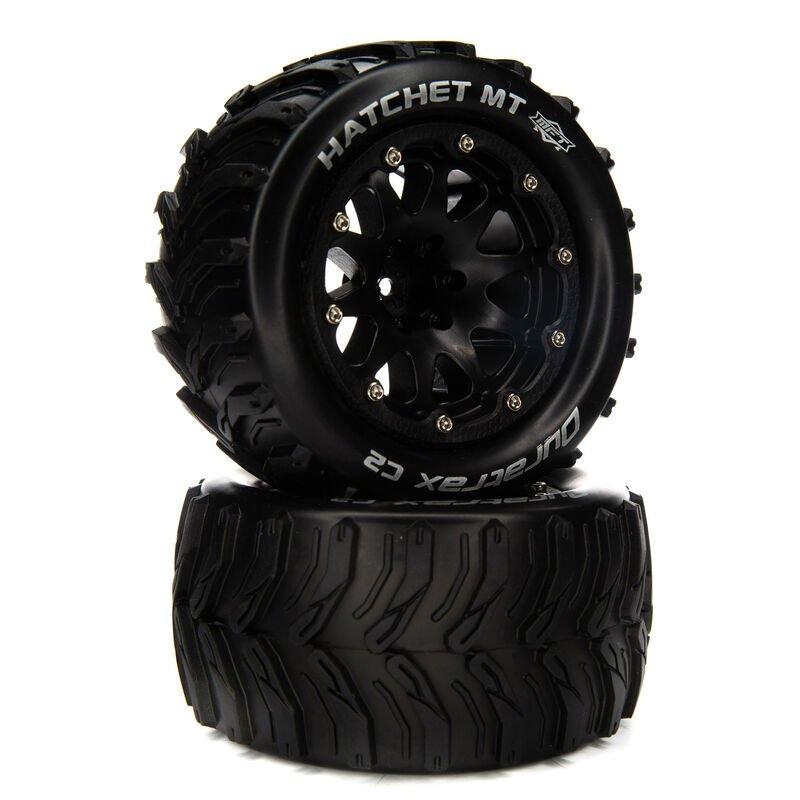 14mm Hatchet MT Belted 2.8 Mounted F/R Tires, Black (2)