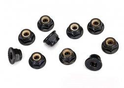 4MM Serrated Flanged Nylon Locking Nut (Black) (10)