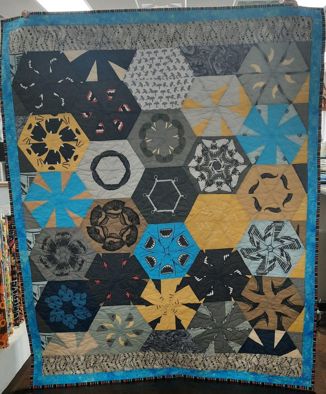 Mask Hexagon Quilt 54 x 70