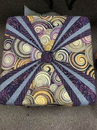 Square Tuffet with Kaffe fabrics