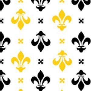 Fleur de Lis - Black / Gold on White