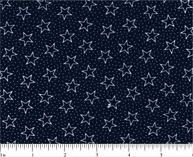 Navy w/ White Stars 108 Wide Fabric
