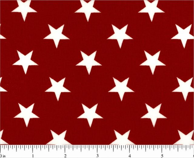 Red with White Stars 108 Inch Quilt Backing