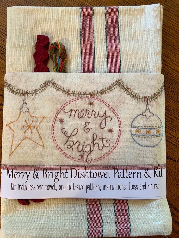Merry & Bright Embroidery Dishtowel Pattern