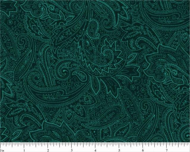 108 - Dk. Teal Paisley Wideback Fabric