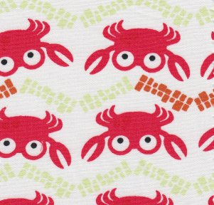 White w/ Red Crabs 60in wide