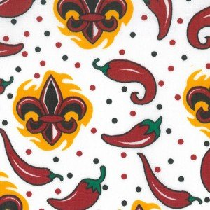 Fleur de lis - Peppers Red / Black  (58 inches wide)