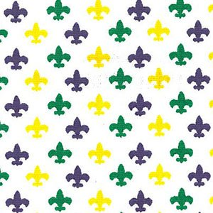 Fleur de Lis - Purple/Green/Gold on White (58 inches wide)