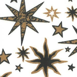 Star Pattern Fabric: Black and Bronze Stars