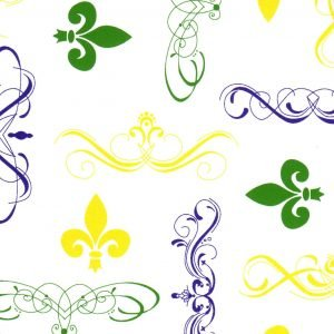 Fleur De Lis Fabric: Purple, Kelly and Gold