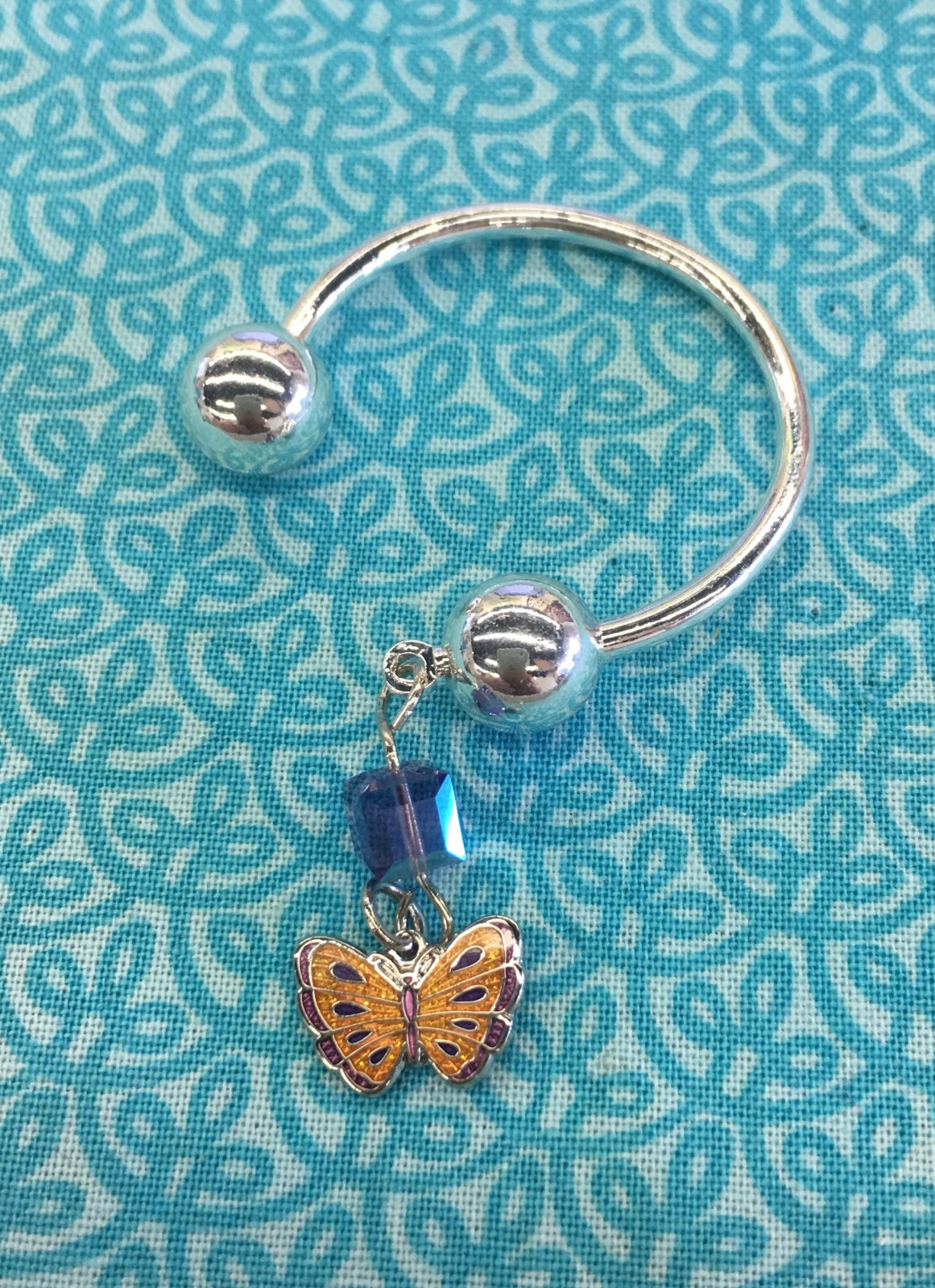 Butterfly Key Ring with Ball Ends