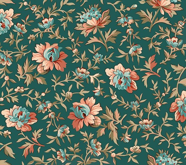 Bethel - Teal Packed Floral