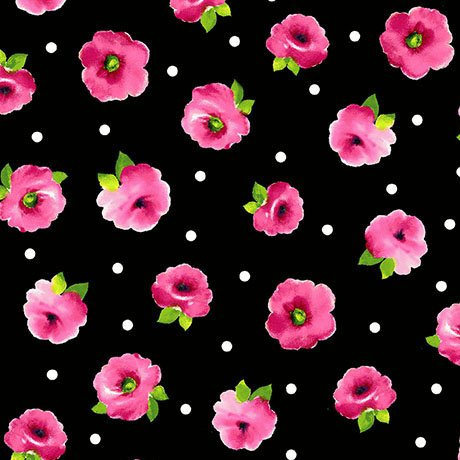 Brooke - Black Small Tossed Floral