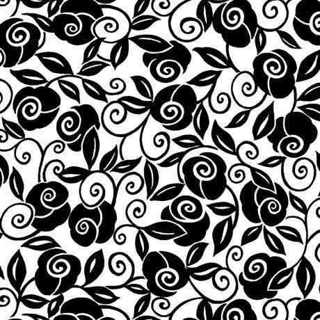 Brooke Floral Scroll - Black / White