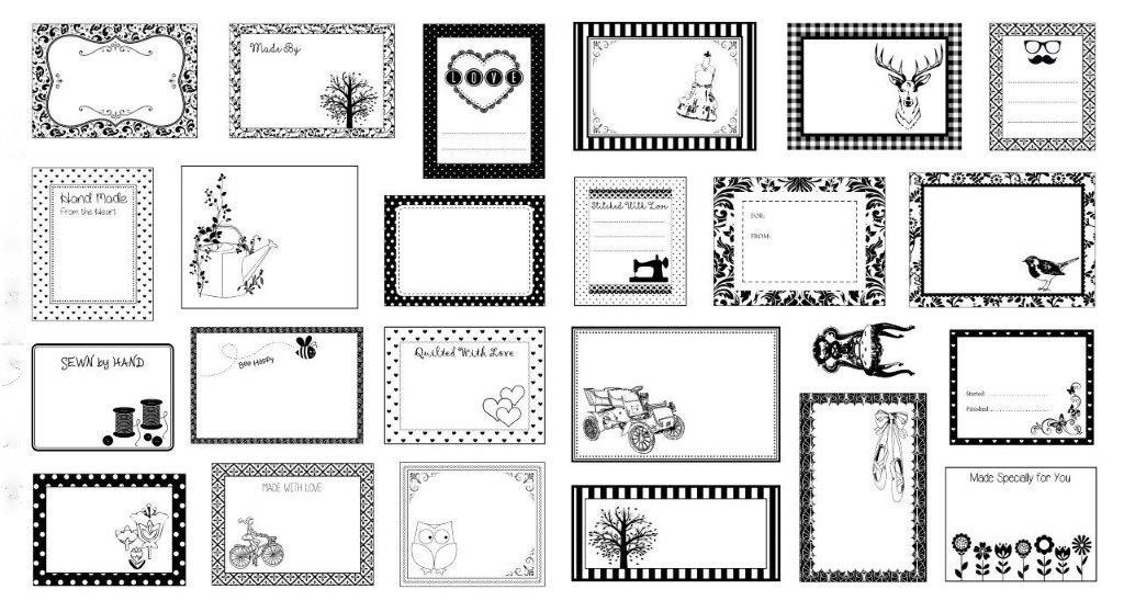 Black and White Quilt Label Panel
