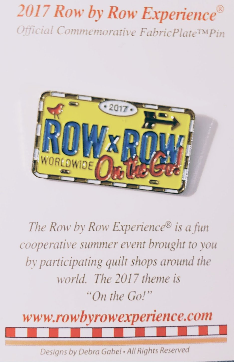 Row by Row 2017 Souvenir Lic Plate Pin