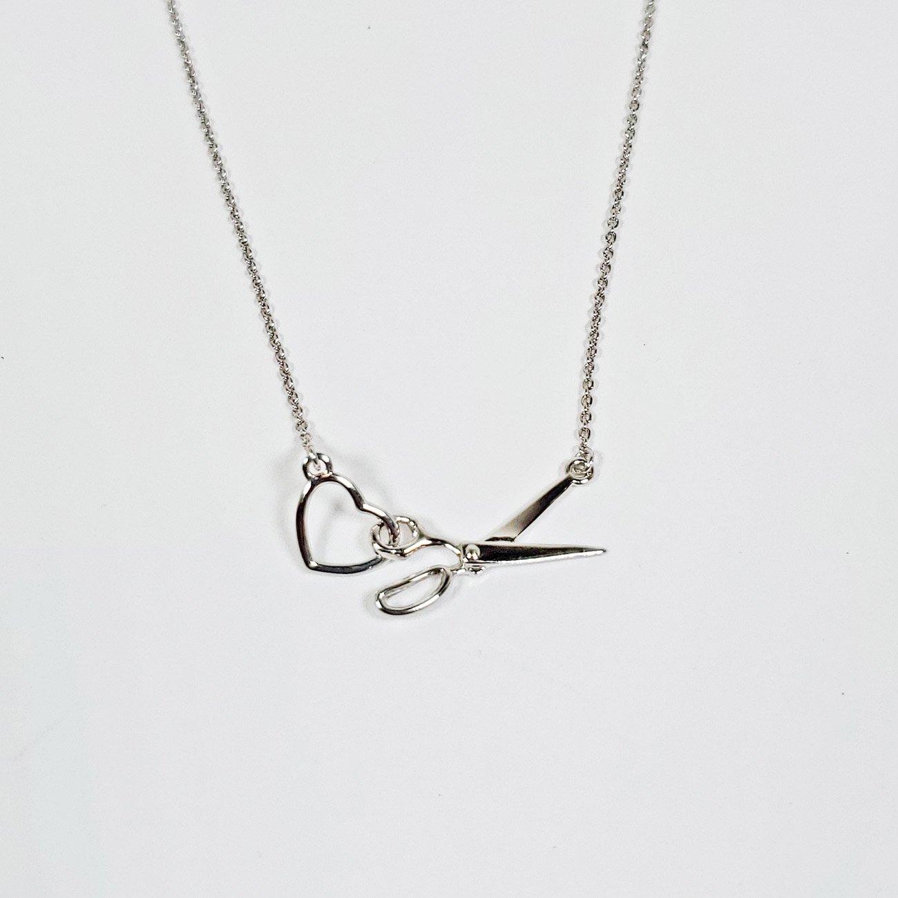 Scissor Heart Charm Necklace Silver