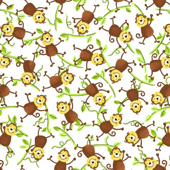 Jungle Camp - Monkeys on Vines White