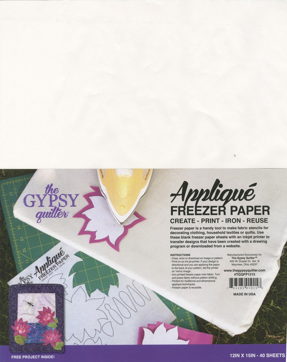 Gypsy Quilter Appilque Paper 12X15 40 shts pkg