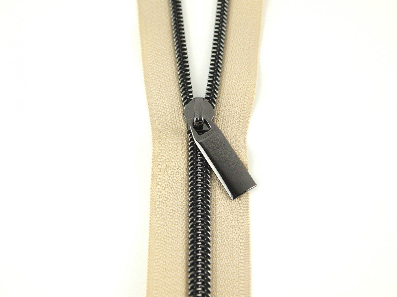 Zippers By The Yard Beige Tape Gunmetal Teeth #5