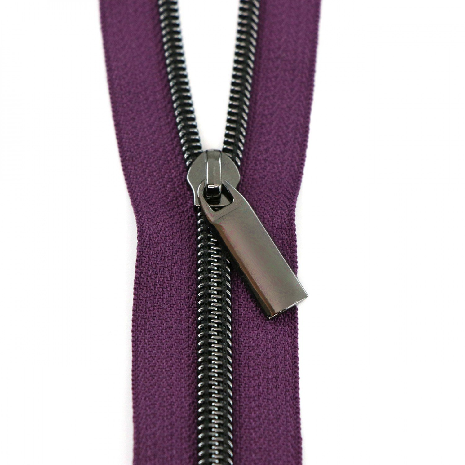 #5 Zippers by the Yard Purple Tape Gunmetal Coil