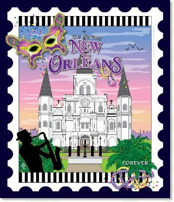 New Orleans City Stamp Mini Panel (6in x 7in)