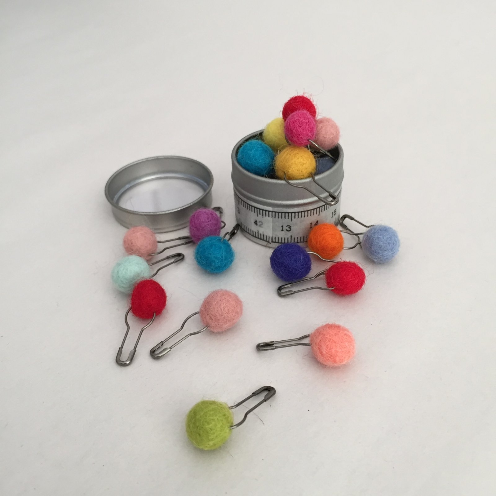 Colorful Felted Ball Stitch Markers