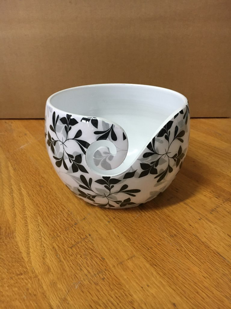 Yarn Bowl w/ Black Leaves