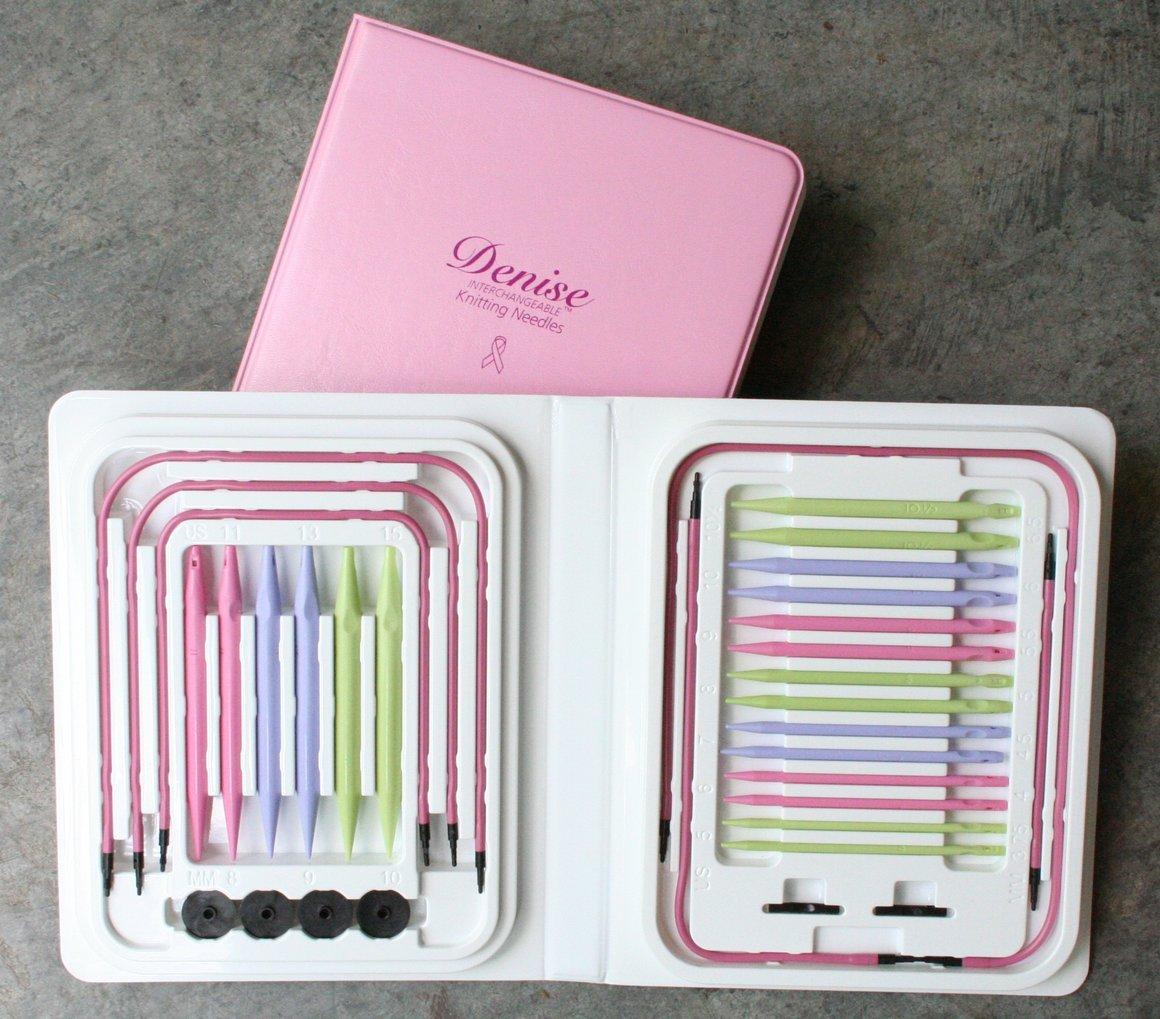 Denise Pink Interchangeable Knitting Needles: original kit with pastel tips