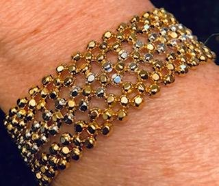 NEW 24K 3 STRAND GOLD AND STERLING SILVER PLATED HAND BEADED BRACELET