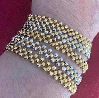 NEW 24K 5 STRAND GOLD AND STERLING SILVER PLATED HAND BEADED BRACELET