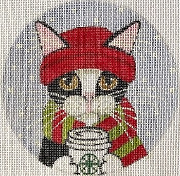 PPD Ryan8520 Keeping Warm Cat Round by Purple Palm Designs