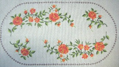 ADAMS107-Orange Roses Oval Table Runner2 Napkins Set