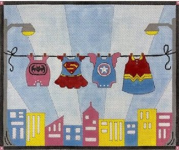 AP3774 GIRLS SUPERHEROES CLOTHESLINE by Alice Peterson