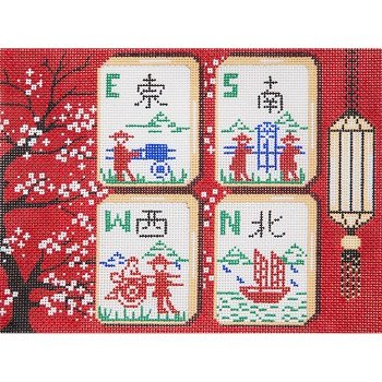 RED BLOSSOMS MAH JONGG by Alice Peterson STITCH GUIDE AP2977sg