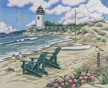 BEACH SCENE with LIGHTHOUSE by Alice Peterson STITCH GUIDE AP2817sg