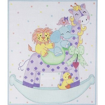 AP3541 BABY GIRAFFE ROCKER BIRTH ANNOUNCEMENT by Alice Peterson