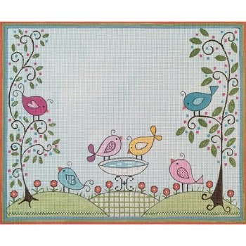 BABY BIRD BATH BIRTH ANNOUNCEMENT by Alice Peterson Stitch Guide AP3598sg