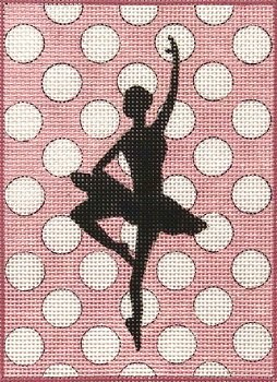 AP4017 BALLERINA SILHOUETTE ON POLKA DOTS by Alice Peterson