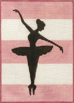 AP4018 BALLERINA SILHOUETTE ON STRIPES by Alice Peterson