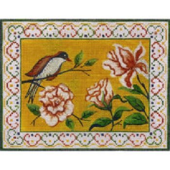 AP4190 FINCH AND FLOWER MAH JONGG PURSE by Alice Peterson