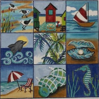 AP4269 BEACH COLLAGE by ALICE PETERSON