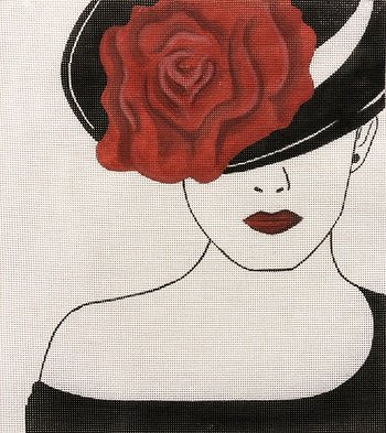 APEA 2926 LADY WITH RED ROSE HAT by Alice Peterson