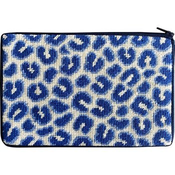 APSZ638 NAVY LEOPARD NEEDLEPOINT PURSE STITCH 'N ZIP KIT by Alice Peterson