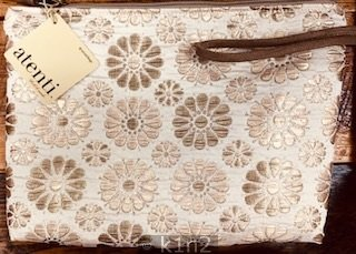Gold Floral Medium Clutch Bag by Atenti Atenti B103JEB
