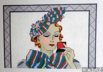 MAKEUP LADY WITH STRIPED HAT by Aviva Needlepoint STITCH GUIDE AV6010sg
