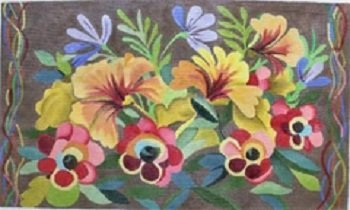 AWP 799J  PANSIES ON BROWN LARGE PILLOW by Ann Wheat Pace